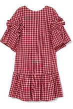 FENDI | Fendi - Bow-detailed Checked Cotton-poplin Mini Dress - Red | Clouty