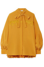 FENDI | Fendi - Pussy-bow Embroidered Pleated Silk Crepe De Chine Blouse - Saffron | Clouty