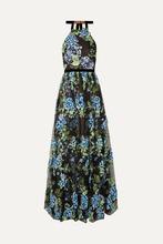 Marchesa Notte | Marchesa Notte - Halterneck Embroidered Point D'esprit Gown - Black | Clouty