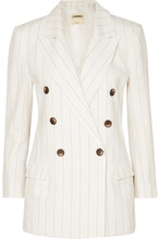 L'Agence   L'Agence - Brea Pinstriped Linen And Cotton-blend Blazer - White   Clouty
