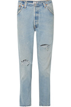 Re/Done | RE/DONE - + Levi's Distressed High-rise Slim-leg Jeans - Light blue | Clouty