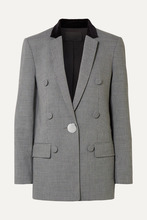 Alexander Wang | Alexander Wang - Velvet And Leather-trimmed Houndstooth Woven Blazer - Gray | Clouty