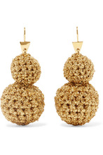 Lucy Folk | Lucy Folk - Rock Formation Gold-plated And Lurex Earrings - one size | Clouty
