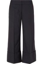 Monse   Monse - Cropped Pinstriped Wool-crepe Wide-leg Pants - Navy   Clouty