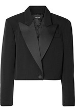 Isabel Marant | Isabel Marant - Lewin Satin-trimmed Wool Blazer - Black | Clouty