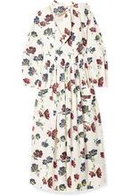Ulla Johnson | Ulla Johnson - Isabeau Pleated Floral-print Cotton-poplin Midi Dress - Ivory | Clouty