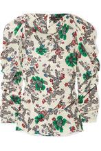 Isabel Marant | Isabel Marant - Crem Ruched Floral-print Silk-blend Crepe De Chine Blouse - Ecru | Clouty