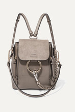Chloé | Chloe - Faye Mini Textured-leather And Suede Backpack - Gray | Clouty