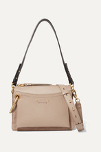 Chloé | Chloe - Roy Day Leather And Suede Shoulder Bag - Gray | Clouty