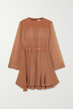 Chloé | Chloe - Belted Mousseline And Silk-blend Crepe Mini Dress - Brown | Clouty