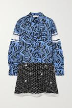 Chloé | Chloe - Embellished Printed Lace-trimmed Silk Mini Dress - Blue | Clouty