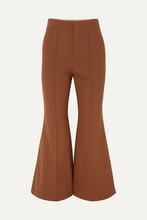 Chloé | Chloe - Cropped Stretch-wool Flared Pants - Brown | Clouty