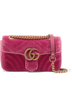 GUCCI | Gucci - Gg Marmont Mini Quilted Velvet Shoulder Bag - Pink | Clouty