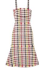 Oscar De La Renta | Oscar de la Renta - Fringed Houndstooth Wool-blend Tweed Dress - Red | Clouty