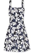 Oscar De La Renta | Oscar de la Renta - Pleated Printed Stretch-cotton Dress - Navy | Clouty