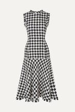 Oscar De La Renta | Oscar de la Renta - Fringed Houndstooth Wool-blend Tweed Dress - Black | Clouty