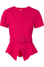 Oscar De La Renta | Oscar de la Renta - Belted Wool-blend Tweed Peplum Jacket - Bright pink | Clouty