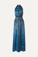 BALMAIN   Balmain - Leopard-print Silk-satin Halterneck Gown - Azure   Clouty