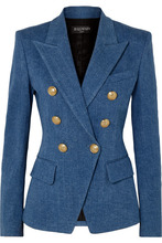 BALMAIN | Balmain - Double-breasted Denim Blazer - Blue | Clouty