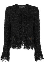 BALMAIN | Balmain - Frayed Metallic Boucle Jacket - Black | Clouty