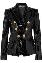 BALMAIN | Balmain - Double-breasted Patent-leather Blazer - Black | Clouty