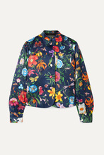 GUCCI | Gucci - Floral-print Silk-satin Jacket - Navy | Clouty