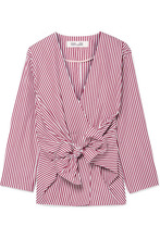 Diane Von Furstenberg | Diane von Furstenberg - Tie-front Striped Cotton-poplin Shirt - Burgundy | Clouty