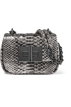 TOM FORD - Natalia Mini Metallic Python Shoulder Bag - Silver