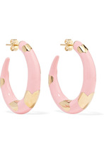 Alison Lou | Alison Lou - Amour 14-karat Gold And Enamel Hoop Earrings - one size | Clouty