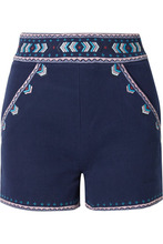 Talitha | Talitha - Embroidered Cotton-twill Shorts - Navy | Clouty