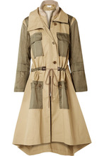 Chloé | Chloe - Gabardine And Wool-blend Trimmed Twill Trench Coat - Army green | Clouty