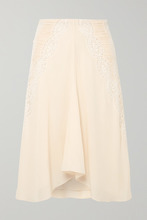 Chloé | Chloe - Ruched Crocheted Lace-paneled Silk Crepe De Chine Skirt - Cream | Clouty