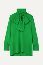 GUCCI   Gucci - Pussy-bow Silk-georgette Blouse - Green   Clouty
