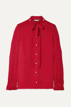 GUCCI   Gucci - Embellished Ruffled Silk Crepe De Chine Blouse - Red   Clouty