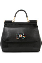 Dolce & Gabbana | Dolce & Gabbana - Sicily Medium Embellished Lizard-effect Leather Tote - Black | Clouty