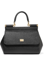 Dolce & Gabbana | Dolce & Gabbana - Sicily Small Textured-leather Tote - Black | Clouty