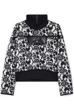 adidas by Stella McCartney | adidas by Stella McCartney - Stretch Jersey-trimmed Floral-jacquard Sweatshirt - Black | Clouty