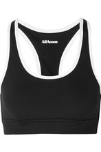 All Access | All Access - Front Row Two-tone Ribbed Stretch Sports Bra - Black | Clouty
