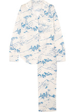 Desmond & Dempsey | Desmond & Dempsey - Printed Cotton-voile Pajama Set - Cream | Clouty