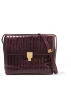 Victoria Beckham | Victoria Beckham - Quinton Quilted Glossed Creased-leather Shoulder Bag - Burgundy | Clouty