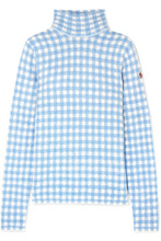 Moncler Grenoble | Moncler Grenoble - Checked Knitted Turtleneck Sweater - Light blue | Clouty
