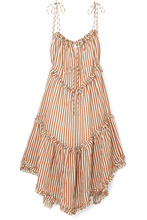 Zimmermann | Zimmermann - Exclusive Lumino Asymmetric Ruffled Striped Linen Midi Dress - Tan | Clouty
