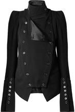Ann Demeulemeester | Ann Demeulemeester - Convertible Wool And Cotton-blend Blazer - Black | Clouty