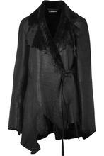 Ann Demeulemeester | Ann Demeulemeester - Reversible Distressed Shearling Jacket - Black | Clouty