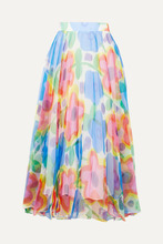 CHRISTOPHER KANE | Christopher Kane - Pleated Floral-print Organza Maxi Skirt - Blue | Clouty