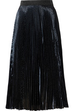 CHRISTOPHER KANE | Christopher Kane - Pleated Lame Midi Skirt - Navy | Clouty