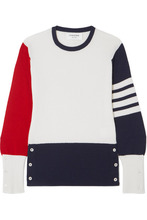 Thom Browne | Thom Browne - Color-block Cashmere Sweater - White | Clouty