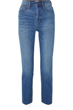 Madewell | Madewell - The Perfect Summer Frayed High-rise Slim-leg Jeans - Mid denim | Clouty