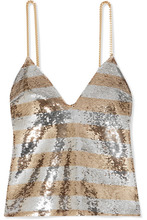 BALMAIN | Balmain - Chain-embellished Striped Sequined Crepe Camisole - Gold | Clouty