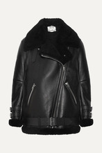 Acne Studios   Acne Studios - Velocite Shearling-trimmed Leather Biker Jacket - Black   Clouty